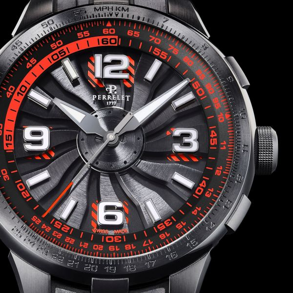 Perrelet Turbine Pilot New Version 2020 - Black under-dial with red stripes