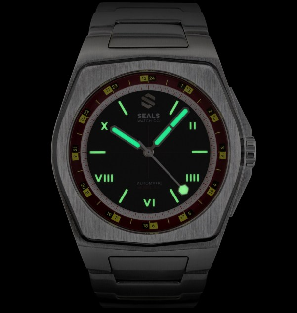 Seals Watch Co. Model A.5 Automatic watch lume shot