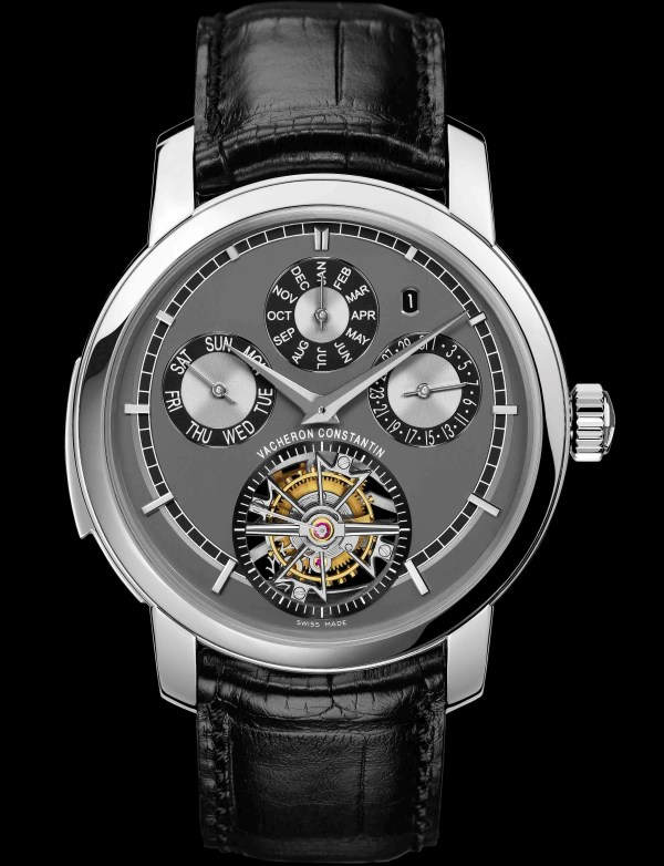 Vacheron Constantin Platinum Traditionnelle Calibre 2755 wristwatch with tourbillon, minute repeater and perpetual calendar, slate grey dial – 2010