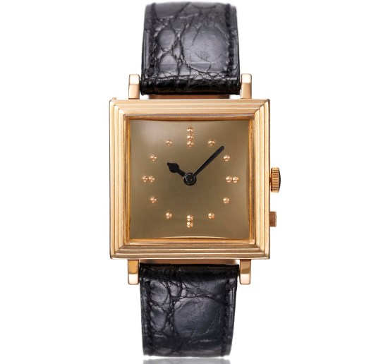 Vacheron Constantin Square pink gold wristwatch for the visually impaired, gold-plated dial – 1964