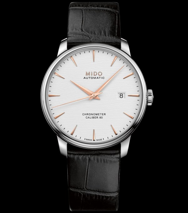Mido Baroncelli Caliber 80 Chronometer Silicon, M027.408.16.031.00 (Stainless steel case, Silvered dial and Black leather strap)