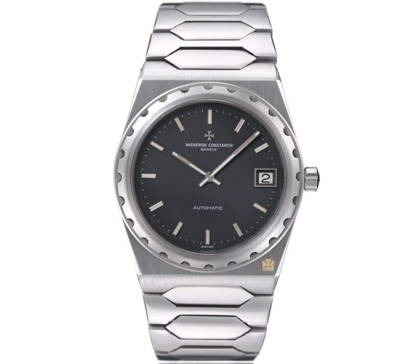 """Vacheron Constantin """"222"""" stainless steel watch with integrated bracelet, black dial and date –1978"""