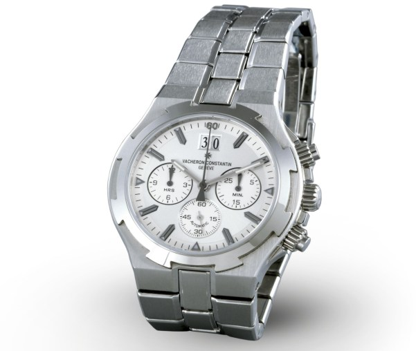 Vacheron Constantin Overseas steel self-winding chronograph watch, silver-toned dial with 30-minute and 12-hour chronograph counters, small seconds and date –1999