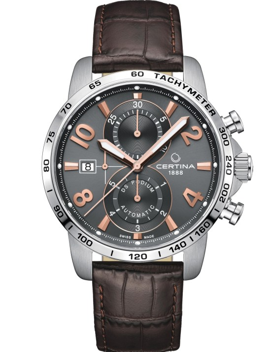 Certina DS Podium Automatic Chronograph New Model 2021 with Grey satin-brushed dial, dark brown calfskin strap