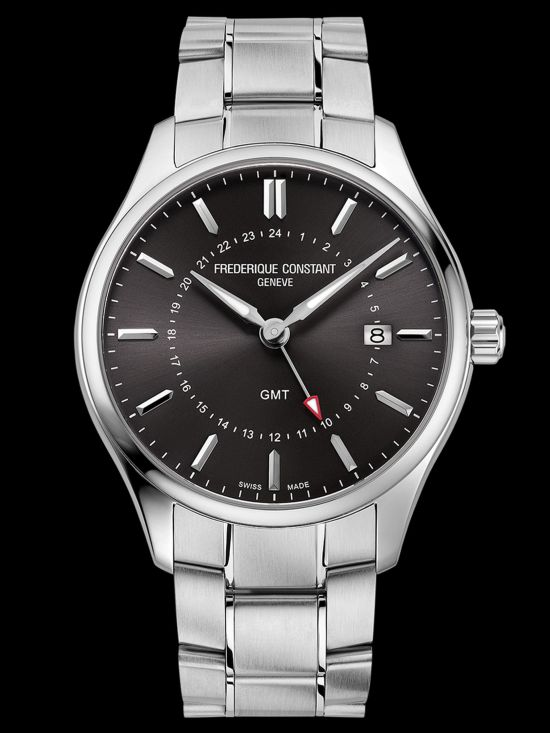 Frederique Constant Classics Quartz GMT watch Dark grey dial Reference FC-252DGS5B6B