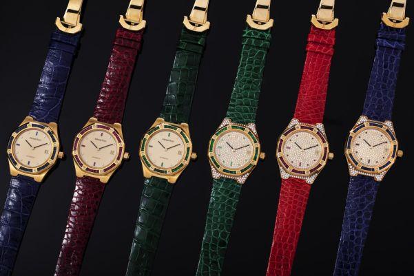 Audemars Piguet, A superlative set of six gold bejewelled Royal Oak wristwatches presented in its original presentation box