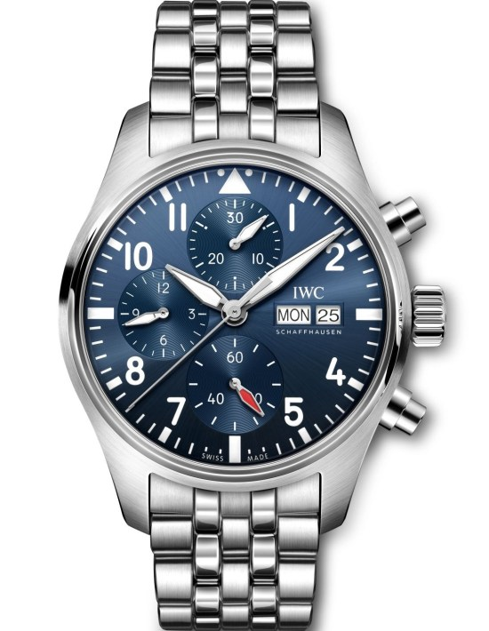 IWC Schaffhausen Pilot's Watch Chronograph 41, Ref. IW388102: Stainless steel case, blue dial, rhodium-plated hands, stainless steel bracelet.
