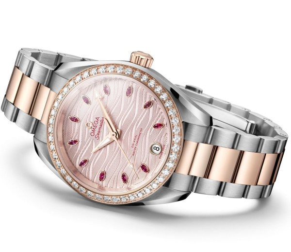 Omega Seamaster Aqua Terra with pale pink dial embossed with waves and bi-color bracelet