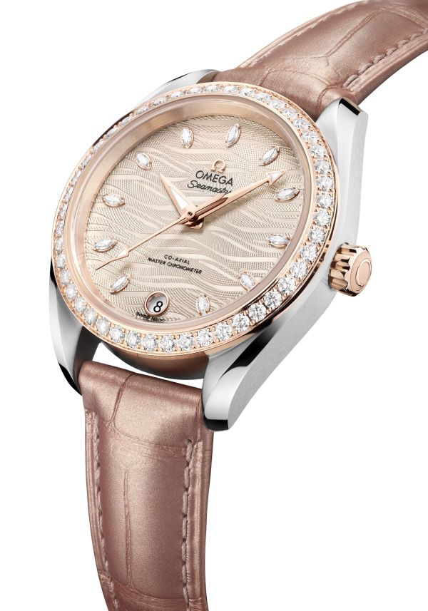 Seamaster Aqua Terra with nude color dial embossed with waves and matching leather strap