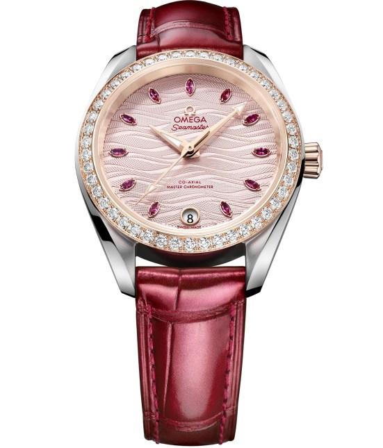 Omega Seamaster Aqua Terra with pale pink dial embossed with waves and red strap