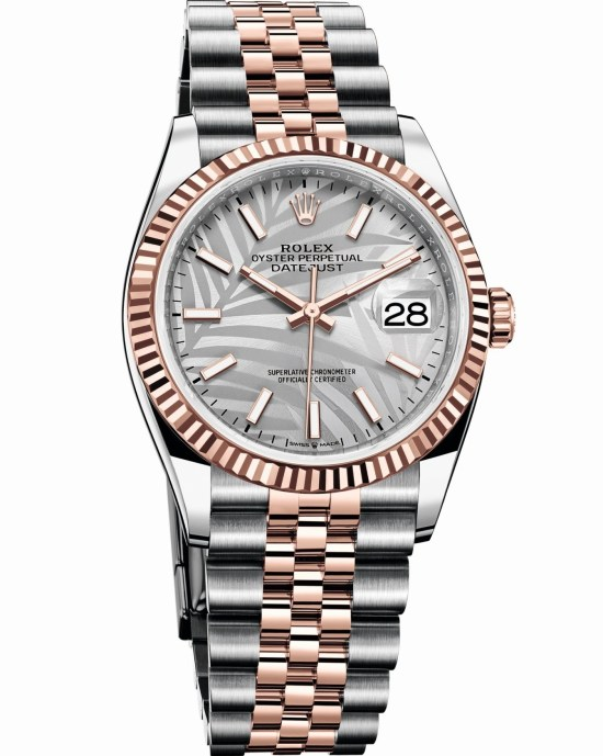 Rolex Oyster Perpetual Datejust 36 Everose Rolesor version with Silver palm motif dial
