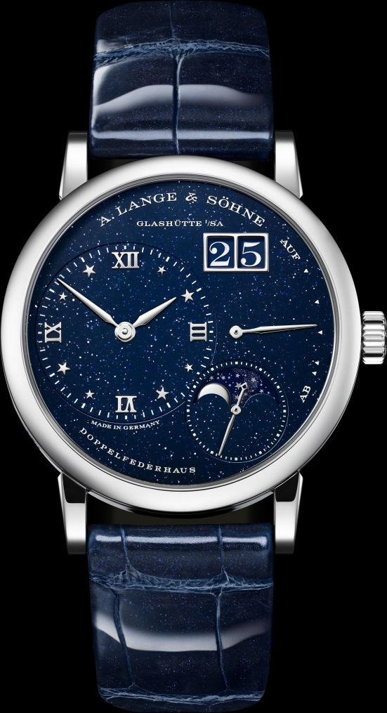 A. Lange & Söhne Little Lange 1 Moon Phase watch with white gold case and blue dial with large date