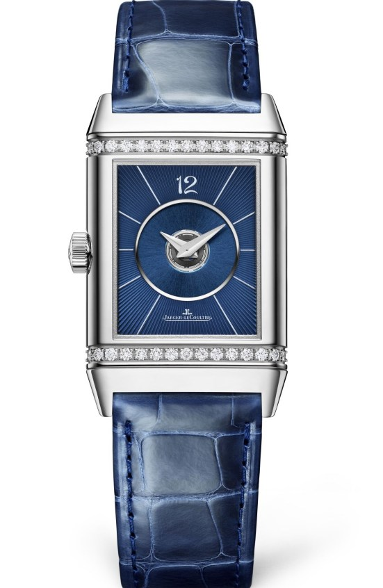 Jaeger-LeCoultre Reverso Duetto Medium stainless steel watch blue dial