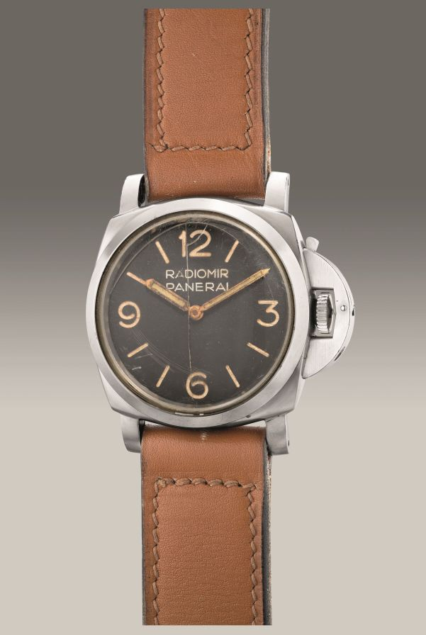 Panerai Ref. 6152-1 oversized stainless steel cushion-shaped diver's wristwatch with black dial, delivered to the Carabinieri Sommozzatori. Circa 1958. Estimate: HK$ 550,000 - 1,000,000