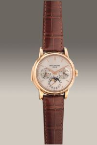 Patek Philippe Ref. 3974R pink gold minute repeating English perpetual calendar wristwatch. Circa 1992. Estimate: HK$ 3,875,000 - 7,750,000