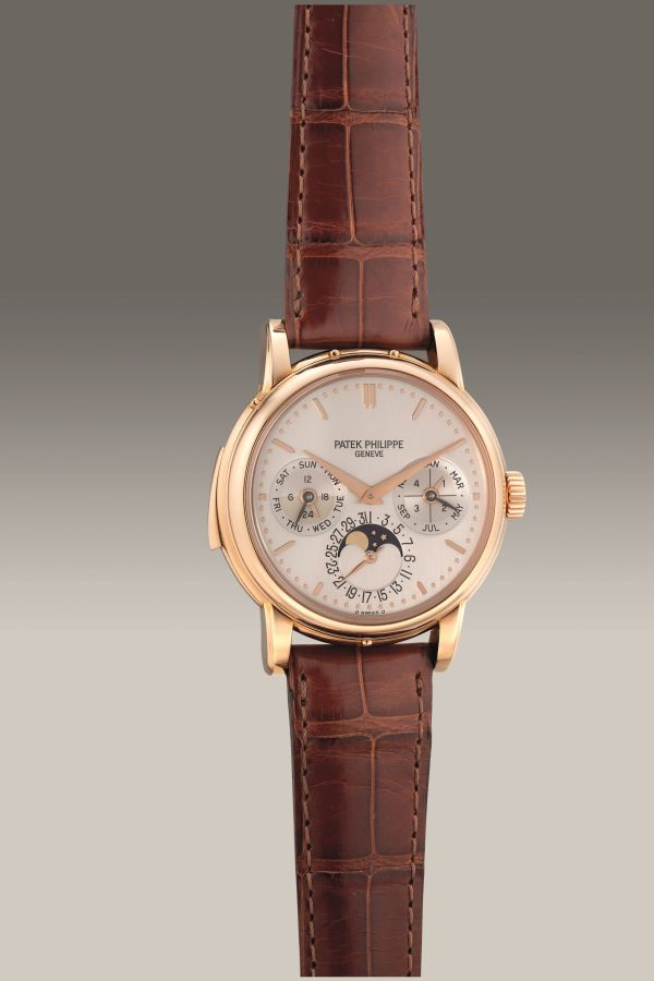 Patek Philippe Ref. 3974R pink gold minute repeating English perpetual calendar wristwatch. Circa 1992. Estimate: HK$ 3,875,000 - 7,750,000