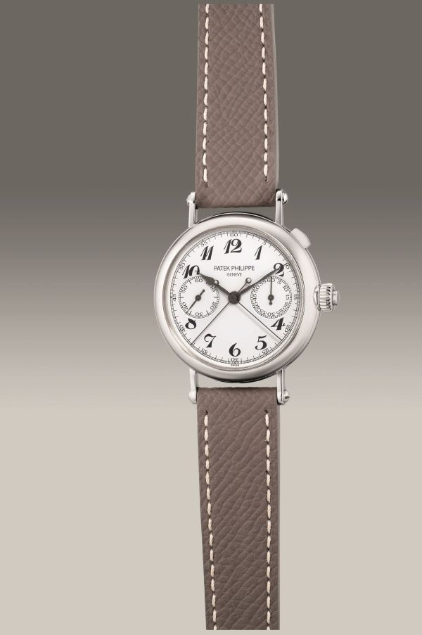 Patek Philippe Ref. 5959P-001 platinum split-seconds chronograph wristwatch. Circa 2007. Estimate: HK$ 1,248,000 - 2,028,000