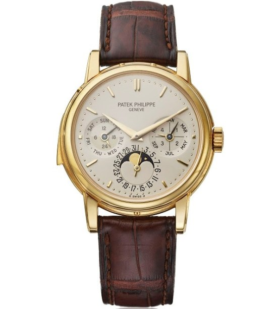 Patek Philippe reference 3974 yellow gold case with Silvered dial
