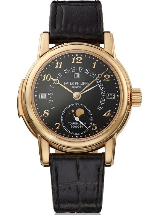 Patek Philippe reference 5016 18K rose gold minute repeating perpetual calendar wristwatch with tourbillon retrograde date, moon phases, leap year indication, black dial