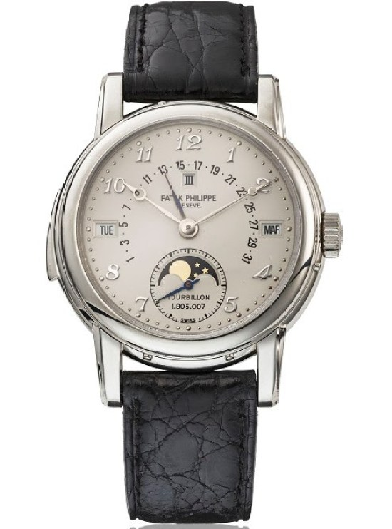 Patek Philippe reference 5016 platinum minute repeating perpetual calendar wristwatch with tourbillon, retrograde date, moon phases, leap year indication and Breguet numerals