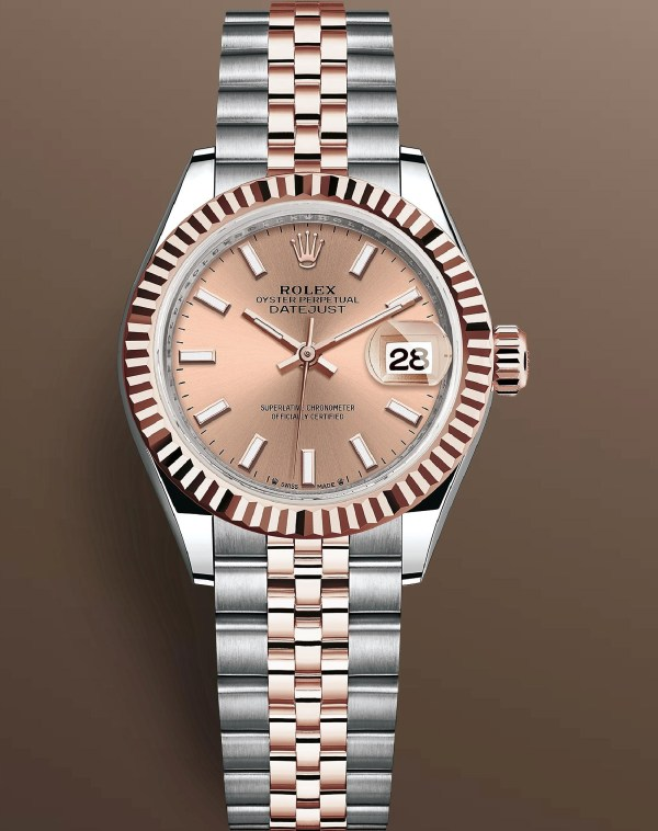 Rolex Lady Datejust Reference 279171-0023: Oystersteel and Everose gold case with fluted bezel, Rosé-colour dial with 18-carat gold index hour markers, Jubilee Bracelet. Image copyright@ Rolex