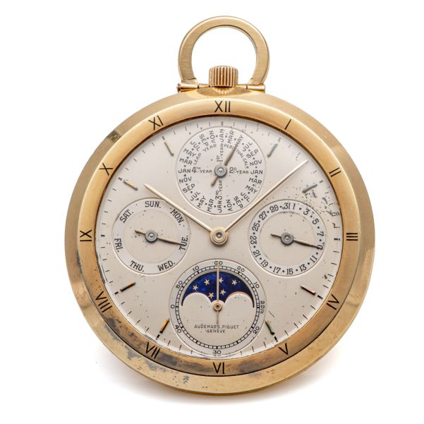 LOT 327: Audemars Piguet, Ref. 5501, Perpetual Calendar Pocket Watch, Two-Tone Dial, Yellow Gold