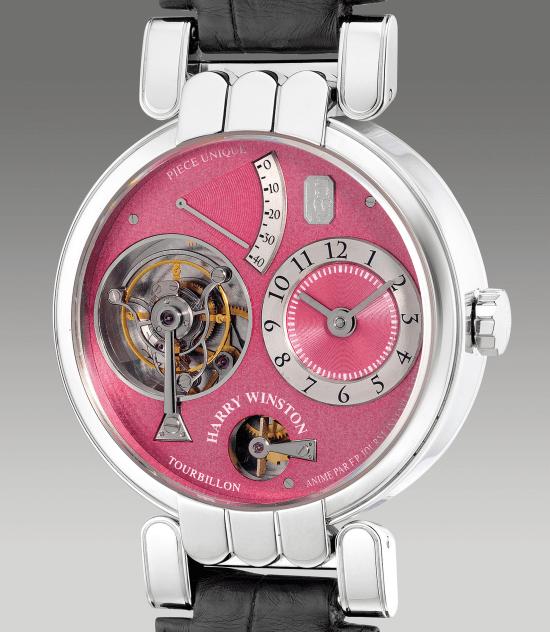 Harry Winston platinum tourbillon wristwatch with Remontoire d'Égalité, power reserve indication