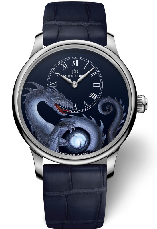 """Jaquet Droz Petite Heure Minute """"Dragon"""" with white gold case"""