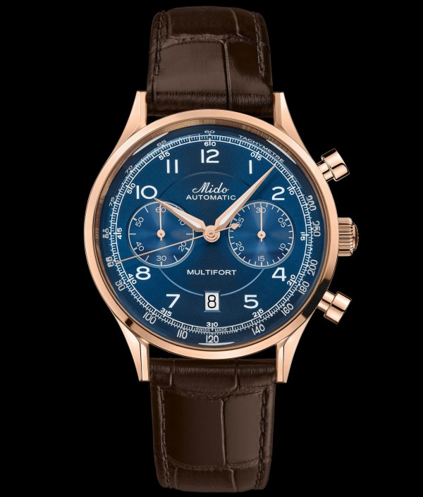 Mido Multifort Patrimony Chronograph (reference M040.427.36.042.00) with rose gold pvd case and blue dial