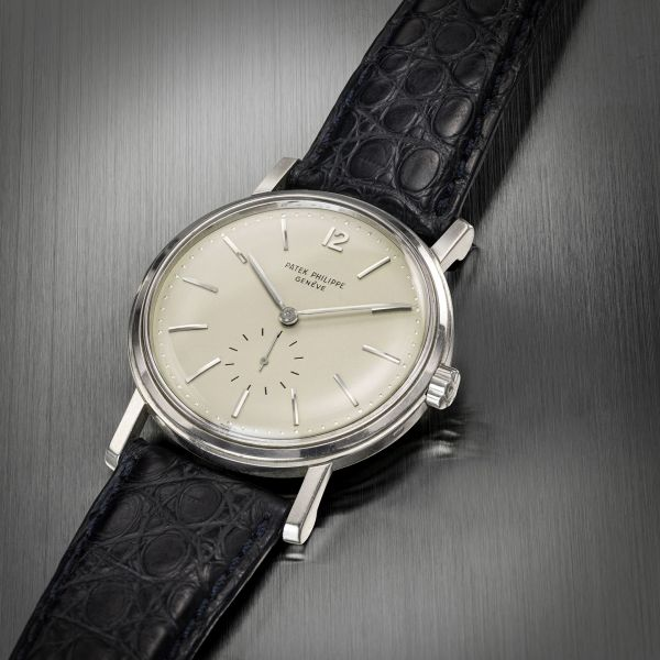 Patek Philippe 18k white gold automatic wristwatch Ref. 2584, manufactured in 1958. Price Realised: HK$875,000/ US$113,246 (auction world record for the reference).