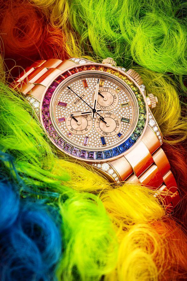 Rolex 18k pink gold, diamond and rainbow-coloured multi gem-set automatic chronograph wristwatch with bracelet, Daytona rainbow model, Ref. 116595rbow, circa 2019. Price Realised: HK$3,500,000/ US$452,982.