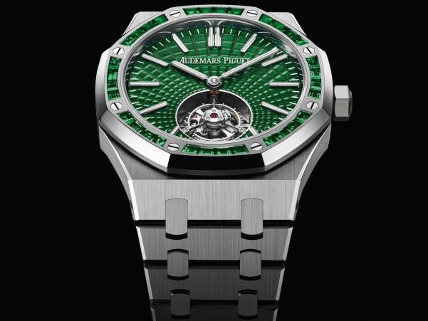 Audemars Piguet Royal Oak Self-winding Flying Tourbillon, New Model with Titanium case, diamond-set bezel and Green Dial