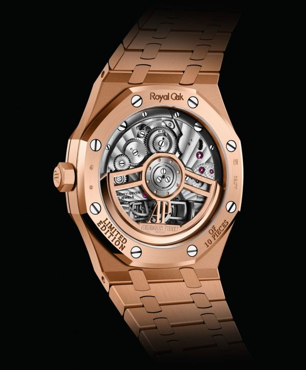 Audemars Piguet Royal Oak Self-winding Flying Tourbillon, New Model with 18-carat pink gold case and Green Dial case back view