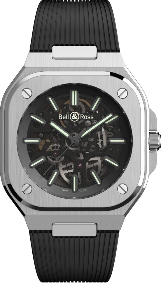 Bell & Ross BR 05 Skeleton Nightlum Limited Edition watch with rubber strap