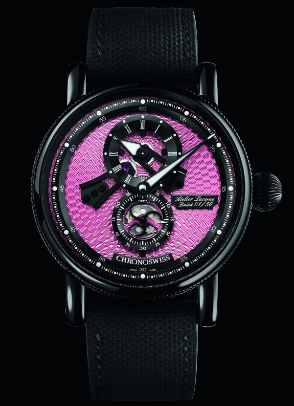 Chronoswiss Flying Regulator Open Gear Pink Panther Limited Edition watch with black DLC case