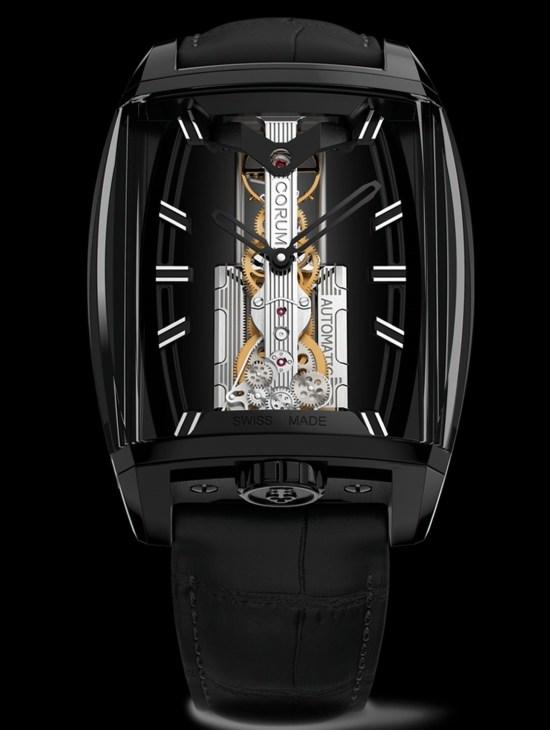 Corum 10th Anniversary Golden Bridge Automatic watch with black DLC case