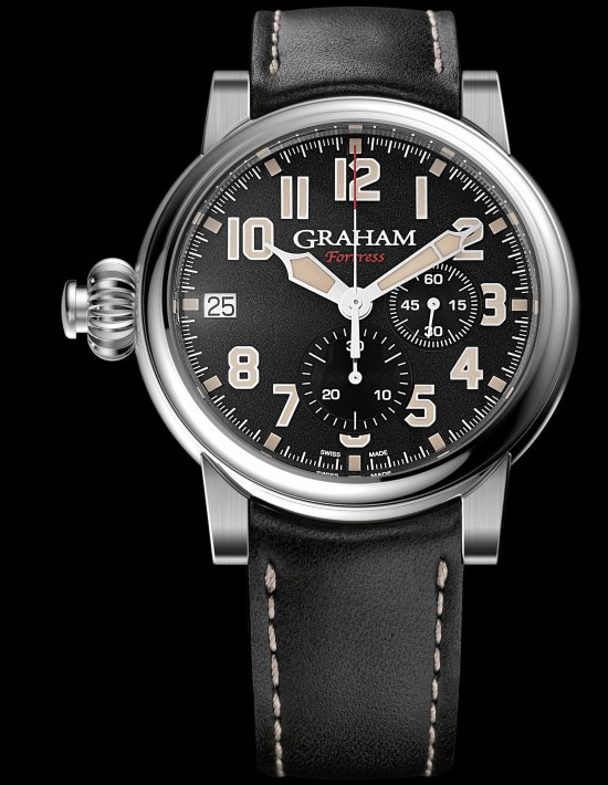 GRAHAM FORTRESS Limited Edition automatic monopusher chronograph with black dial