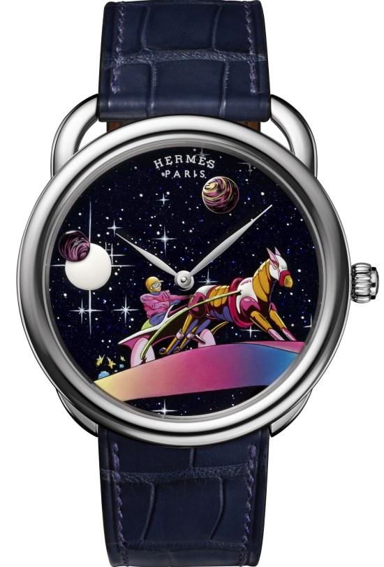 Hermès ARCEAU Space Derby watch in white gold