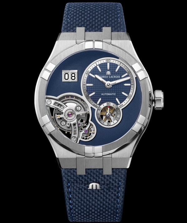 Maurice Lacroix Aikon Master Grand Date watch steel case with cordura strap