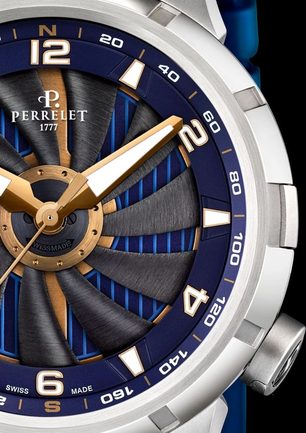 Perrelet Turbine Yacht, New Model 2021 stainless steel case electric blue dial
