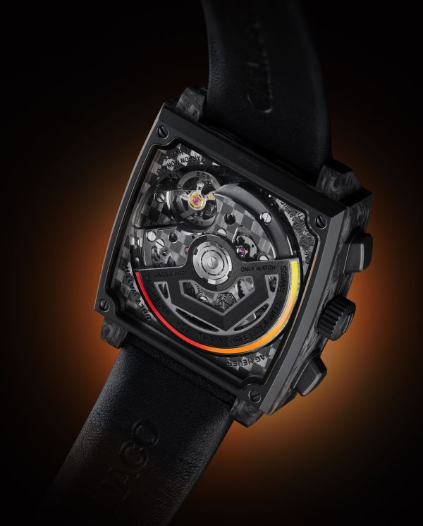 TAG Heuer Only Watch Carbon Monaco case back view