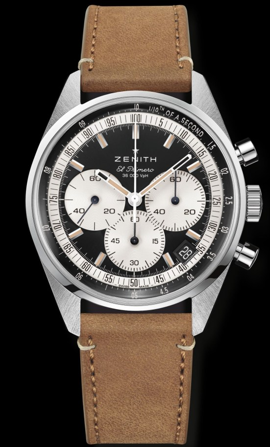 Zenith Chronomaster Original stainless steel model with matte black dial, silver toned counters and Beige calfskin strap