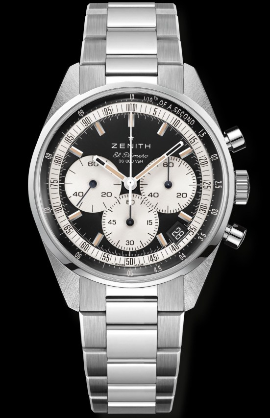 Zenith Chronomaster Original stainless steel model with matte black dial, silver toned counters and Stainless steel bracelet