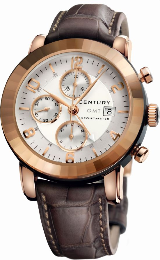 Century Elegance Chronograph GMT watch in red gold