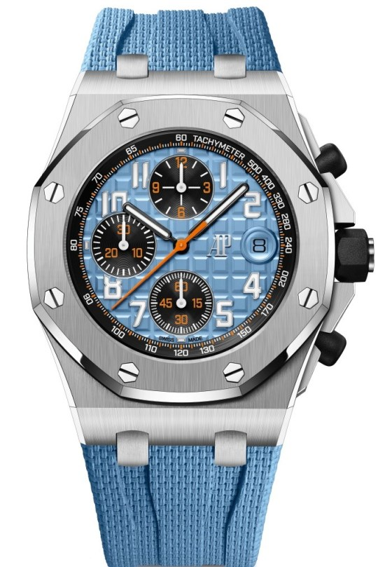 Audemars Piguet Royal Oak Offshore Self-winding Chronograph Steel 42 mm, Blue dial with Méga Tapisserie pattern