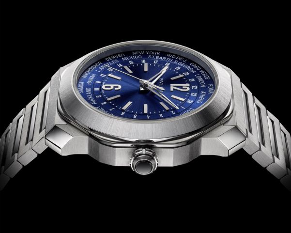 BVLGARI OCTO ROMA WORLDTIMER stainless steel watch with blue dial