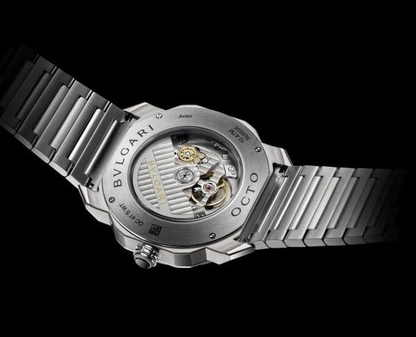 BVLGARI OCTO ROMA WORLDTIMER stainless steel watch case back view