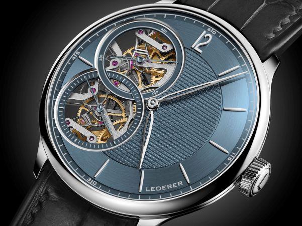 Bernhard Lederer Central Impulse Chronometer with 18K white gold case and dark blue dial