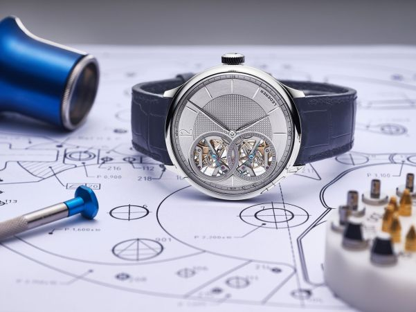 Bernhard Lederer Central Impulse Chronometer with 18K white gold case and rhodium color dial