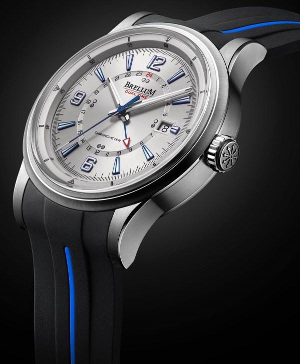 Brellum Wyvern GMT Chronometer watch with silver dial